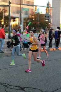 My first marathon... this was at the half way point and I had a very mean face and was on fire.