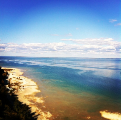 From the top of our bike ride last year, overlooking the water.
