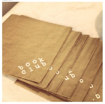 My friend came over early and embossed gold napkins for us. OH YEAH.