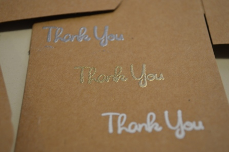 Thank you embossed.