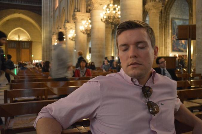 Sleeping in Notre Dame.