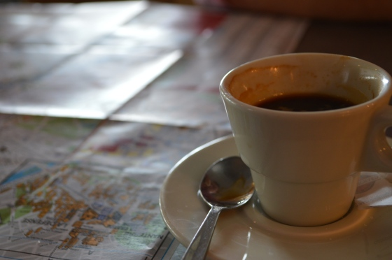 Coffee and map reading.