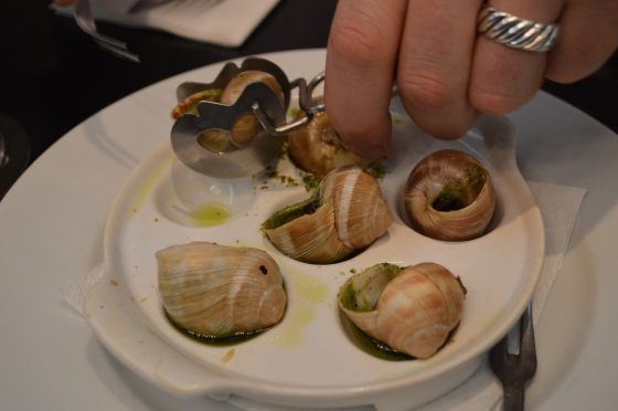 Snails in pesto.