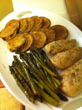 Breaded eggplant and chicken with lemon broiled asparagus.